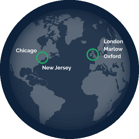 Globe showing locations in Chicargo, New Jersey and the UK (London, Marlow & Oxford)